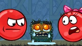 Red BALL  Красный ШАРИК BOSS в Пещере квадратов. Мультик игра для детей