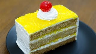 PINEAPPLE PASTRY CAKE RECIPE l EGGLESS & WITHOUT OVEN