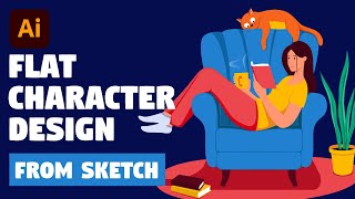Character Illustration From Sketch To Finish | Adobe Illustrator Tutorial (Girl Reading Book)