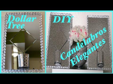 Dollar tree DIY como hacer candelabros de pared elegantes con espejos
