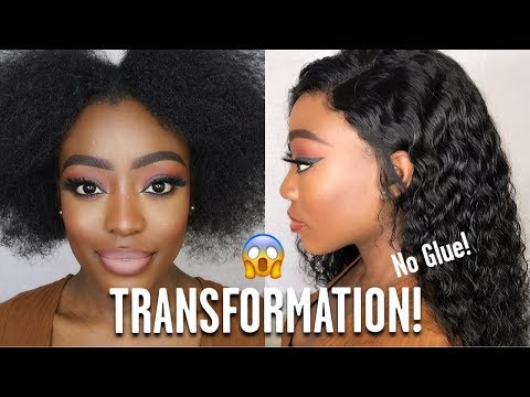 GLUELESS FRONTAL TRANSFORMATION FT YOLISSA HAIR AFFORDABLE WATER WAVE