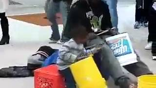 Homeless man and son play drums on buckets (epic)