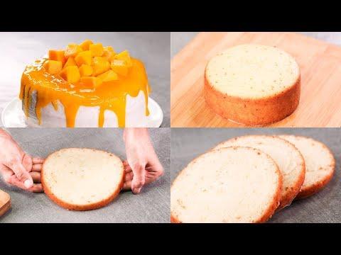 EGGLESS VANILLA SPONGE CAKE l FRESH MANGO FROSTING CAKE l WITHOUT OVEN