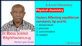 Factors affecting the equilibrium constants, Kc and Kp