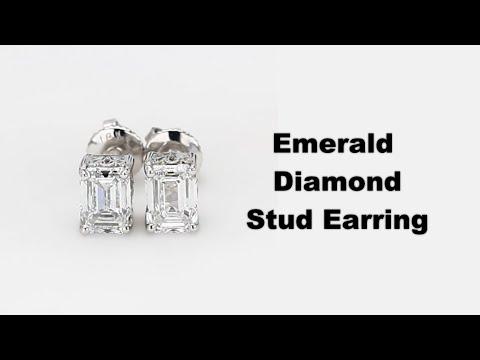 Emerald Cut Stud Earrings 0.51Ct Each Lab Grown Diamonds Def Vvs Vs 18K Gold 1.47Gm