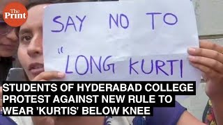 Students Of Hyderabad College Protest New Rule On Wearing Below Knee-length Kurtis