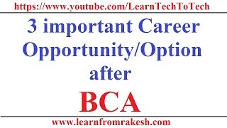 3 important Career Opportunity/Option After BCA