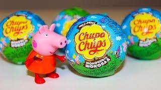 Свинка Пеппа Игрушки Сюрпризы Чупа Чупс Видео для детей Surprise eggs Peppa Pig toys