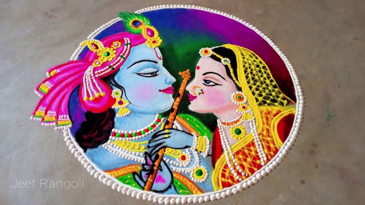 portrait rangoli design radha krishna step by step by jeet rangoli