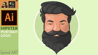 Vector Portrait In Adobe Illustrator | Hipster | Speed Art