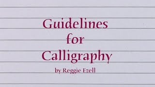 Guidelines for Calligraphy