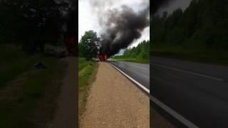 В Ницгальской волости загорелся автобус с детьми