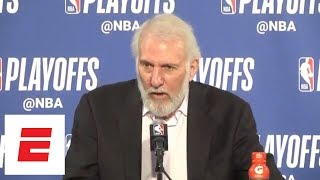 [FULL] Vintage Gregg Popovich news conference after Game 1 loss to Warriors | ESPN