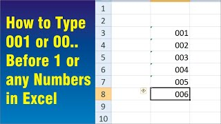 How to Type 001 or 00.. Before 1 or any  Numbers in Excel