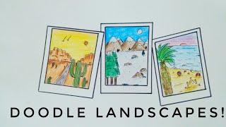 Making Cute Landscape Doodles In Polaroid Frames  Easy Doodle Art