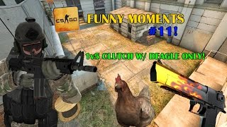 1V5 INSANE DEAGLE CLUTCH! ft. D4rkRaven CSGO FUNNY MOMENTS #11! (Taser kills and stuff like that)