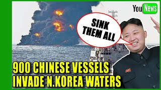 900 Chinese Fishing Vessels invade North Korea waters. Kim Jong Un is not happy!