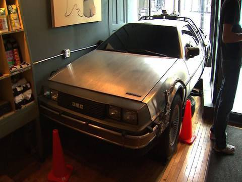 This Coffee Shop Has A Back To The Future DeLorean Parked Inside