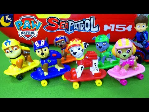 Paw Patrol Toys Skateboard Pups with Sea Patroller Boat Funny Toy Stories for Kids Chase Marshall!