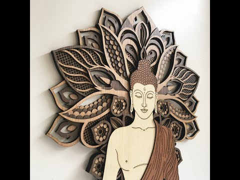 Buddha Wall Hangings - Tree of Life (Wood Wall Hang Decor, Layered Mandala)