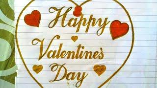 "❤How to write ""Happy Valentines Day"" Stylish writing🔥Handmade Card For Valentines day❤ Valentines🔥"