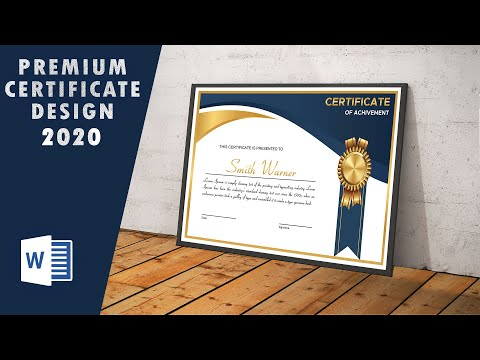 How to Premium Golden Certificate Design in ms word 2020 | copyright free template download