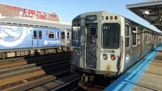 "CTA Transit: Bombardier & Morrison-Knudsen ""L"" Red Brown & Purple Line Trains at Diversey Station"