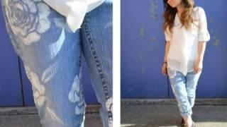 DIY Floral Jeans Tutorial Stencils Fabric Paint