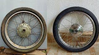 Motorbike Front wheel hub Restoration and polishing |  How to Spoke a Motorbike Wheel