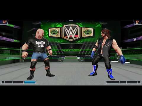 AJ STYLES VS STEVE AUSTIN THE US Title Match. WWE MAYHEM.