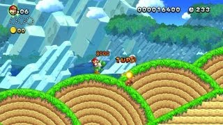 New Super Mario Bros. U -- Fire-breathing Yoshi Collects a 1-Up in Yoshi Hill