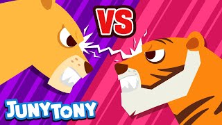 Lion vs. Tiger | JunyTony Versus Series Ep. 2 | Who is the real king? | Animal Song | JunyTony