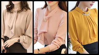 Luxury Office Meeting Wear Chiffon Blouses Tops With Tie Neck - Higy Recommend Blouses Design 2020