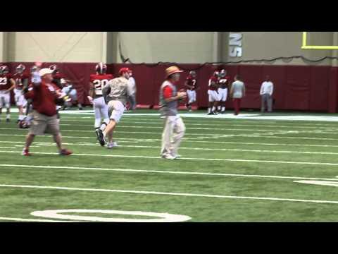 Nick Saban Throws Passes During Saturday's Practice: Sugar Bowl Prep 12/20/14