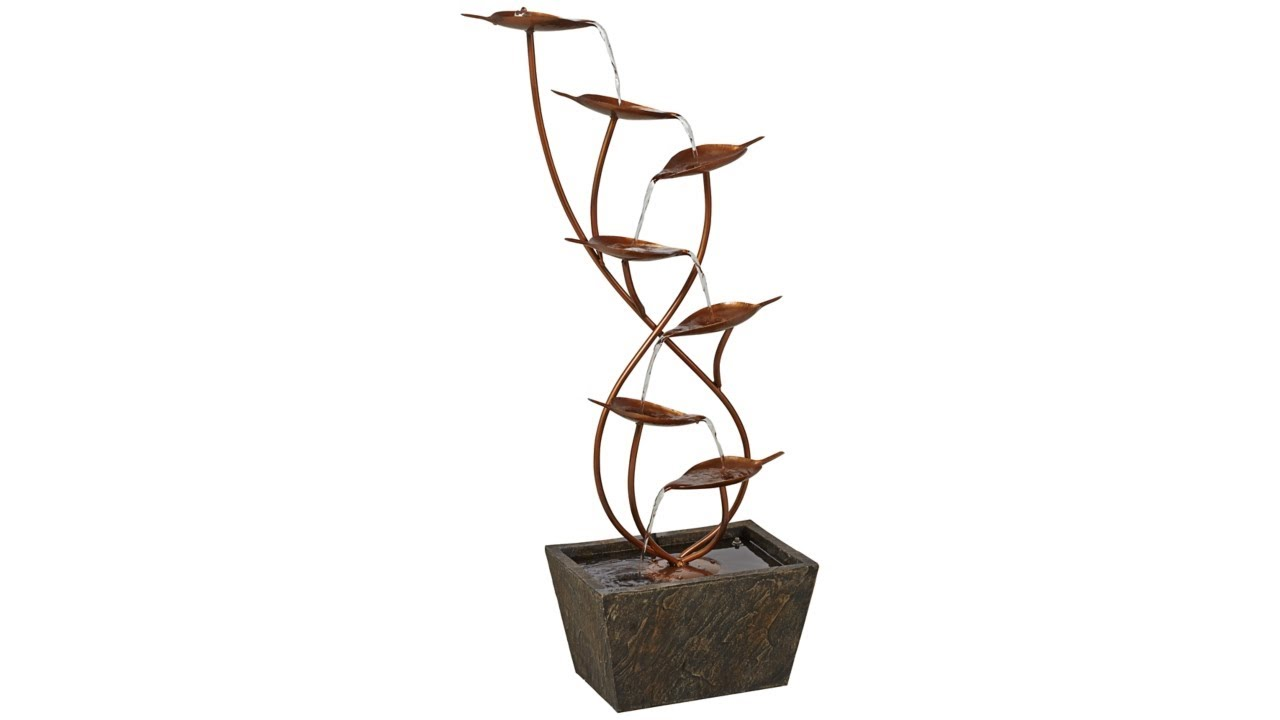 "Ashton Curved Leaves 41"" High Copper Finish Floor Fountain"