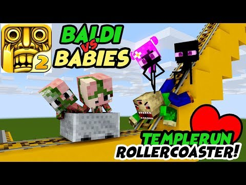 MONSTER SCHOOL : FUNNY ROLLER COASTER TEMPLERUN WITH BABY MONSTER - Minecraft Animation