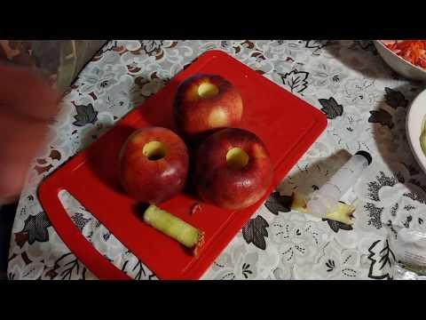 Быстрое удаление шприцом,сердцевины из яблока!!!