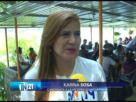 Fórmula presidencial del FMLN realiza gira por San Vicente