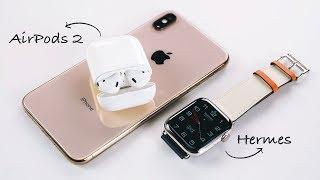 AirPods 2 и распаковка Apple Watch S4 Hermès