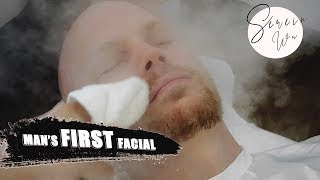 MAN GETS HIS FIRST FACIAL TREATMENT W EXTRACTIONS