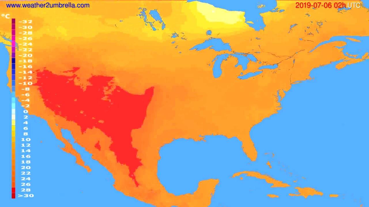 Temperature forecast USA & Canada // modelrun: 12h UTC 2019-07-03