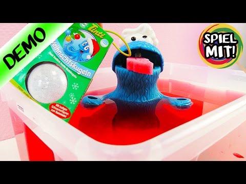 Tinti Badespaß WEIHNACHTSKUGELN-Wasser färbt sich Rot -Play Doh Krümelmonster badet
