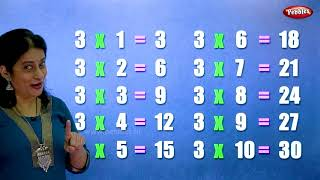 Table of 3 in English | 3 Table | Multiplication Tables in English | Learning Video | Pebbles Rhymes