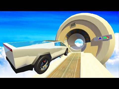 BeamNG DRIVE - Cars Jumping through an MRI machine