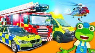 Emergency Vehicles! Geckos Real Vehicles   Fire Truck Police Car And More   Learning For Kids