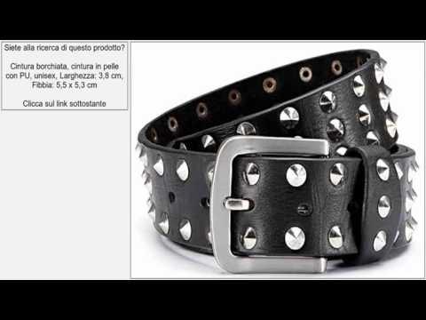 Cintura borchiata, cintura in pelle con PU, unisex, Larghezza: 3,8 cm, Fibbia: 5,5 x 5,3 cm