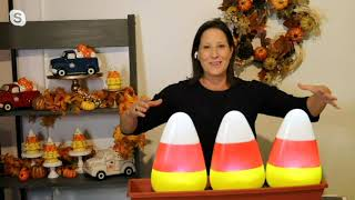 "Mr. Halloween Set of (3) 13"" Indoor/Outdoor Candy Corn Pathway Stakes on QVC"