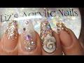 Acrylic Nails | Peach Nude | Rose Gold Holo