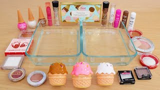 Neapolitan Ice Cream - Mixing Makeup Eyeshadow Into Slime ASMR 294 Satisfying Slime Video