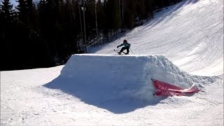 8 years old first attempt to hit a ski jump - skiing for first time